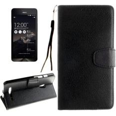 untuk ASUS Zenfone 5 Lengkeng Tekstur Case Kulit Horisontal Flip dengan Magnetic Gesper dan Pemegang dan Slot Kartu dan Dompet dan Bingkai Foto dan Lanyard (Hitam) -Intl