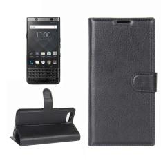 untuk BlackBerry Keyone Lengkeng Tekstur Case Kulit Horisontal Flip dengan Pemegang dan Slot Kartu dan Dompet (Hitam) -Intl