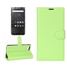 untuk BlackBerry Keyone Lengkeng Tekstur Case Kulit Horisontal Flip dengan Pemegang dan Slot Kartu dan Dompet (Hijau) -Intl