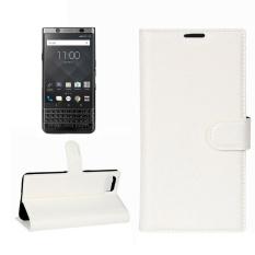 untuk BlackBerry Keyone Lengkeng Tekstur Case Kulit Horisontal Flip dengan Pemegang dan Slot Kartu dan Dompet (Putih) -Intl