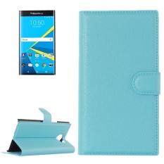 untuk Blackberry Priv Lengkeng Tekstur Case Kulit Horisontal Flip dengan Magnetic Gesper dan Pemegang dan Slot Kartu dan Dompet (biru) -Intl