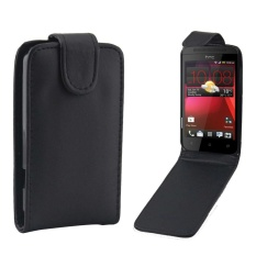 untuk HTC Desire 200 Vertikal Flip Magnetik Snap Leather Case (Hitam)-Intl