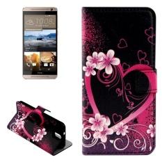 untuk HTC One E9 + Bunga dan Jantung Pola Kulit Case dengan Pemegang dan Slot Kartu dan Dompet-Intl