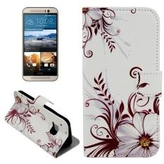 untuk HTC One M9 Pola Bunga Flip Kulit Case dengan Pemegang dan Slot Kartu dan Dompet-Intl