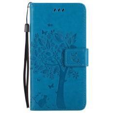Untuk Huawei Honor 7i Biru Emboss Bunga Dompet Kulit Berkualitas Tinggi Slot Kartu Lipat Penyangga Case Sarung-Internasional