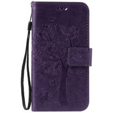 For Lenovo Lemon 3 K32C36 Purple Emboss Flower High Quality Leather Wallet Card Slot Flip Stand Case Cover - intl