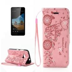 untuk Microsoft Lumia 550 Flower Flower Carriage Pola Berlian Bertatahkan Case Kulit Horisontal Flip dengan Pemegang dan Slot Kartu dan Dompet dan Bingkai Foto dan Lanyard (Pink) -Intl