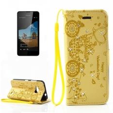 untuk Microsoft Lumia 550 Flower Flower Carriage Pola Berlian Bertatahkan Case Kulit Horisontal Flip dengan Pemegang dan Slot Kartu dan Dompet dan Bingkai Foto dan Lanyard (Kuning) -Intl