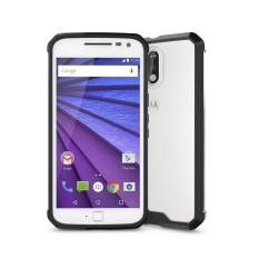 untuk Motorola Moto G (4th Jenderal) /G4 PLUS Transparan Shockproof TPU Pelindung Kembali Tudung Case (Hitam)-Intl