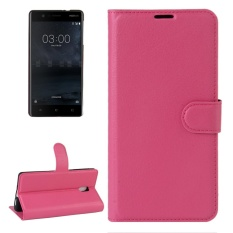 For Nokia 3 Litchi Texture Horizontal Flip Leather Case With Holder and Card Slots and Wallet(Magenta) - intl
