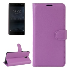 For Nokia 3 Litchi Texture Horizontal Flip Leather Case With Holder and Card Slots and Wallet(Purple)
