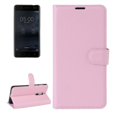 For Nokia 5 Litchi Texture Horizontal Flip Leather Case With Holder and Card Slots and Wallet(Pink)