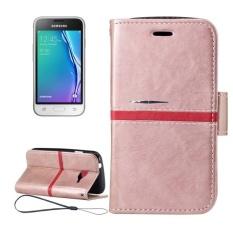 untuk Samsung Galaxy J1 Mini/J1 NXT/J105 Crazy Horse Tekstur Horizontal Flip PU Kulit Case dengan Pemegang dan Slot Kartu dan Dompet dan Bingkai Foto dan Lanyard (Rose Gold) -Intl