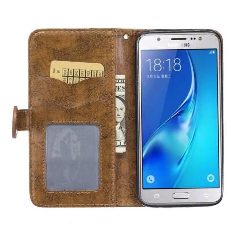 Untuk Samsung Galaksi J7 2016/J710 Case Minyak Wax Hiasan Timbul Pola PU Kulit Magnetik Lipat Dompet Dudukan Kartu Slot sarung (Coklat) -Internasional 2