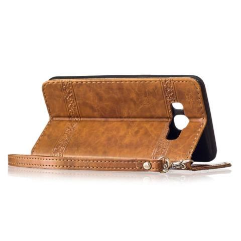 Untuk Samsung Galaksi J7 2016/J710 Case Minyak Wax Hiasan Timbul Pola PU Kulit Magnetik Lipat Dompet Dudukan Kartu Slot sarung (Coklat) -Internasional 3