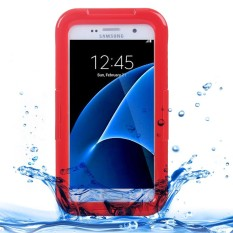 For Samsung Galaxy S7 / G930 IPX8 Plastic + Silicone Transparent Waterproof Protective Case With Lanyard (Red) - intl