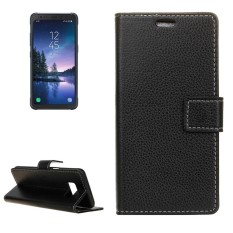 For Samsung Galaxy S8 Active Litchi Texture Horizontal Flip Leather Case with Holder and Card Slots and Wallet and Photo Frame (Black) - intl