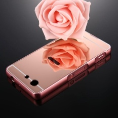 For Sony Xperia Z3 Compact Mirror Push Pull Back Shell Cover + Electroplating Bumper Frame Protective Combination Case (Rose Gold) - intl