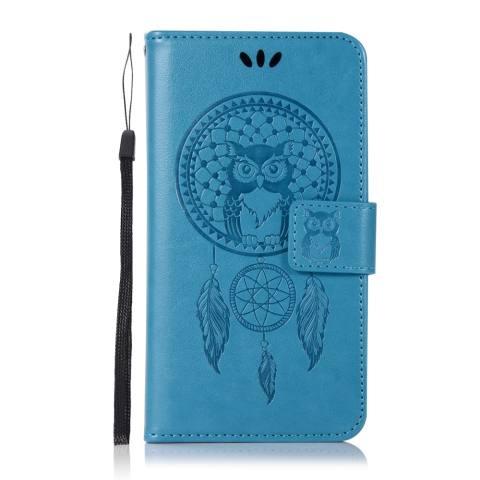 Untuk Xiaomi Redmi 5A Case, 3D Hiasan Timbul Modis Peraih Mimpi Burung Hantu PU Kulit Case, magnetik Lipat Stand Penyangga Sarung Pemegang Kartu & Tali Tangan-Internasional 1