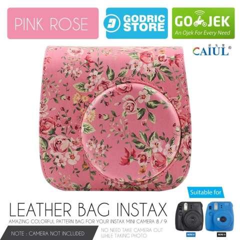Fujifilm Leather Bag Kamera Instax Mini 8 & 9 Tas Polaroid Floral Clover Case