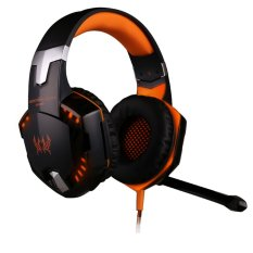 G2000 Over-ear Headset Headphone Gaming Headphone Earphone Headband dengan MIC Stereo Bass LED Light untuk PC Game (1 XOrange)