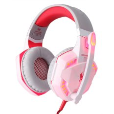 G2000 Over-ear Game Gaming Headphone Headset Earphone Headband with Mic Stereo Bass LED Light for PC Game(1xWhite)