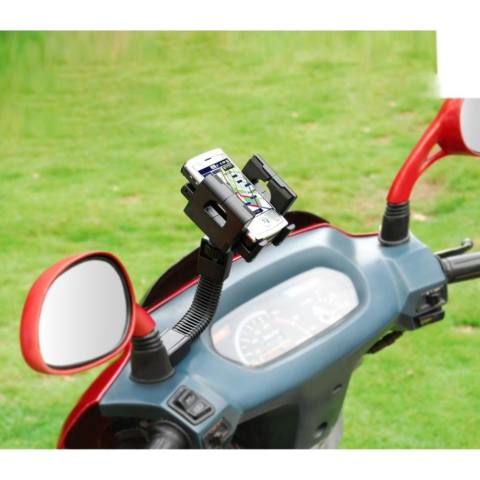 GPS Mobile Holder Jepit untuk Spion Motor / Phone Holder For Universal Motorcycles - Hitam +