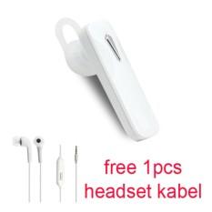 Handsfree Bluetooth + Hedset Kabel For Asus Zenfone 2 Laser (ZE 551 KL) - Putih