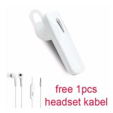 Handsfree Bluetooth + Hedset Kabel For Zenfone Asus 3 Laser (ZC 551 KL)- Putih