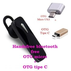 Handsfree Bluetooth+ OTG Mickro Usb+OTG Tipe C For Samsung Galaxy S7 Active / S7 Edge - Hitam