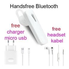 Handsfree Bluetooth+Hedset Kabel+Charger Usb For Asus Zenfone 2 Laser (ZE 551 KL) - Putih