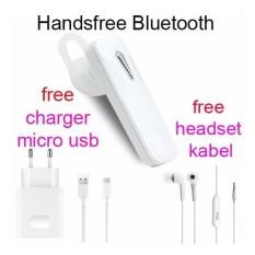 Handsfree Bluetooth+Hedset Kabel+Charger Usb For OPPO R7 Lite/R7 S - Putih