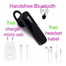 Handsfree Bluetooth+Hedset Kabel+Charger Usb For Samsung Galaxy Grand Prime Plus - Hitam