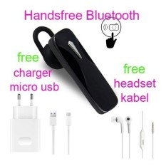 Handsfree Bluetooth+Hedset Kabel+Charger Usb For Samsung Galaxy Grand Prime Plus/E5 - Hitam