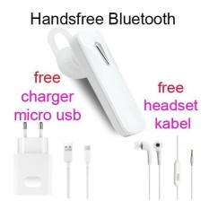 Handsfree Bluetooth+Hedset Kabel+Charger Usb For Samsung GAlaxy On8/On7 Pro - Putih