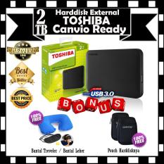 HARGA MURAH !! Toshiba 2TB Canvio Ready External Harddisk - GRATIS Bantal Treveler - Bantal Leher Travel Angin Set Travel Pillow Neck Set & Pouch Harddisknya