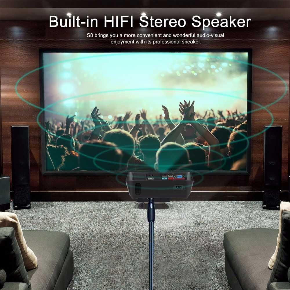 HD LCD LED Projector Home Cima Theater HDMI USB VGA TF Stereo Speaker - intl