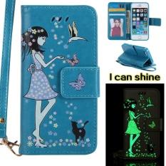 Tinggi Kualitas Luminous Blue Kartu Slot Dompet PU Leather Stand Flip Case Cover untuk IPhone 5 5 S-Intl