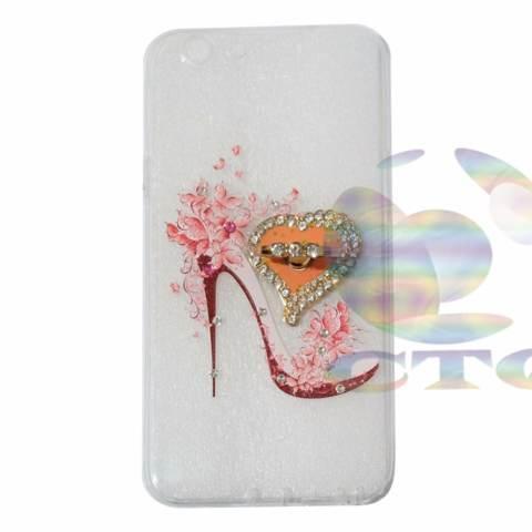 Icantiq Case Oppo F1s Selfie Expert A59 Softshell Swarovski Animasi Sepatu High Heels + Holder Ring