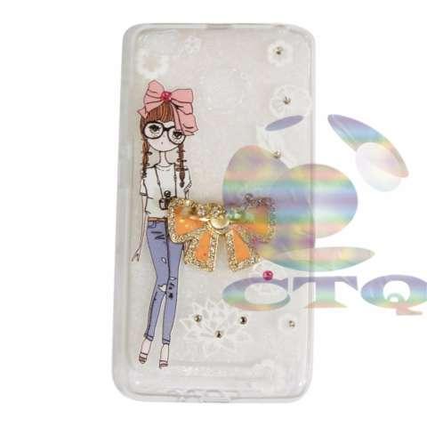 Icantiq Case Xiaomi Redmi 4X Softshell Luxury Diamond Animasi Perempuan Berkacamata Unik + Holder Ring Pita