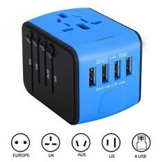 International Adaptor Bepergian, Iabolt Di Seluruh Dunia Stopkontak AC Plugs untuk UK/EU/uk/AU dengan Total 3.4A 4 Port USB Charger Hebat untuk IPhone/smartphone/laptop & Lebih-biru-Internasional
