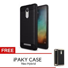 iPaky Carbon Fiber Shockproof Hybrid Back Case for Xiaomi Redmi Note 3 / Note 3 Pro - Black + Gratis iPaky