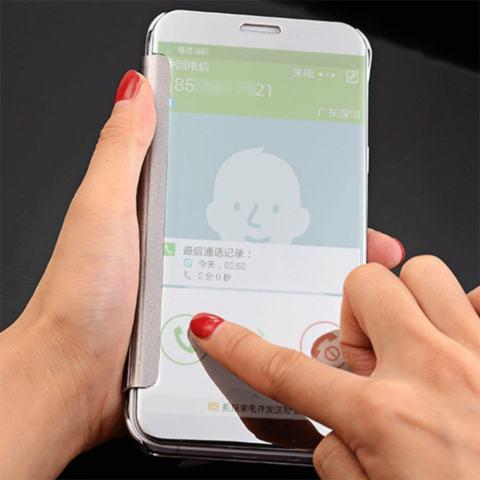 Iphone 6+ Plus Flipcase Flip Mirror Cover S View Transparan Auto Lock Casing Hp -