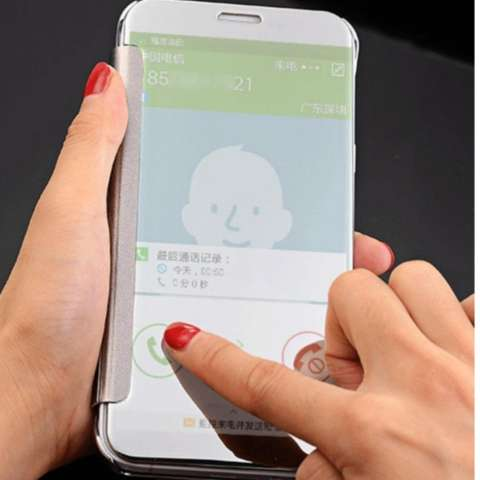 Iphone 6+ Plus Flipcase Flip Mirror Cover S View Transparan Auto Lock Casing Hp - Silver + Free Tempered Glass