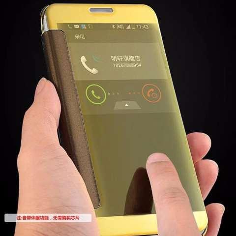 Iphone 7 Plus Flipcase Flip Mirror Cover S View Transparan Auto Lock Casing Hp - Gold + Free Kabel Data Vivan