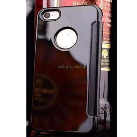 Iphone 7 Plus Flipcase Flip Mirror Cover S View Transparan Auto Lock Casing Hp - Hitam