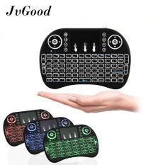 JvGood Backlit 2.4 GHz Mini Nirkabel Touchpad Keyboard Udara Mouse Handheld Bluetooth Remote Control Mouse Game Mice Backlight untuk Android TV BOX PC Smart TV Black