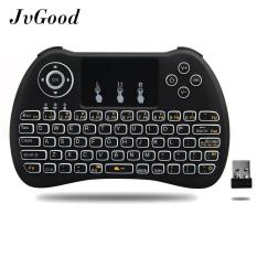 JvGood Backlit 2.4 GHz Nirkabel Mini Keyboard H9, Mouse Touchpad Combo, Portable Multi Media Remote Control untuk Android TV Box, HTPC, IPTV, PC, Pad dan Lainnya-Hitam (Pure White Backlight)