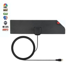 Kobwa TV Antenna, Indoor Antenna For Digital TV , HDTV Antenna Ultra Thin, 10FT High Performance Coaxial Cable With Standard Connector, 35 Miles Range, Upgraded Version Black (29.5*7.5cm) - intl