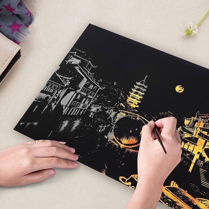 Kota Yang terang Tema DIY Menggambar Gambar Lukisan Dinding Scratch Card, city Golden Night View Cat Seni Kertas Dekorasi Rumah Hadiah Kreatif Gaya:-Intl